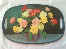"""MIDCENTURY MODERN OVAL WOODEN TRAY ROSES HANDLES BLUE TRIM 17.5"""" X 12"""" JAPAN"""
