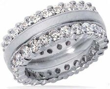 1.75 ct Round DIAMOND ETERNITY Band Twin Wedding Ring VS clarity