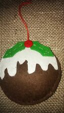 Fab CHRISTMAS PUDDING handcrafted felt fabric Christmas tree decoration NEW