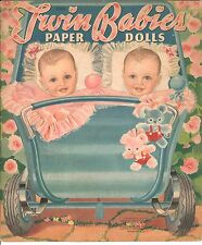 VINTAGE UNCUT 1942 TWIN BABIES PAPER DOLLS ~MERRILL~REPRODUCTION~LO PRICE~HI QUA