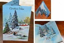 Vintage UNUSED Christmas Card GLITTER PEOPLE DIE CUT POP-OUT England Mid-Century