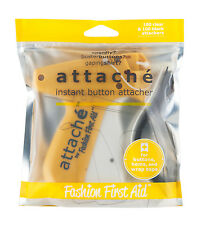 Instant Button Attacher - 200 Clear and Black Fasteners, Sew Buttons