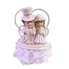 Vintage Looking Bride and Groom with a top Hat Cake Top