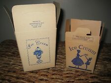 "Vintage Ice Cream One Half Pint & One Pint Cardboard Storage ""To Go"" Containers"