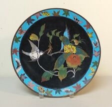 """UNUSUAL 19th C. CHINESE CLOISONNE on BRONZE 12"""" CHARGER, MEIJI PERIOD"""