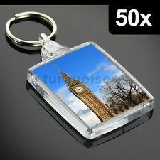 50x Premium Clear Acrylic Blank Keyrings Key Fobs 45 x 35 mm | Passport Photo