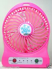 Portable Mini Rechargeable LED Light Fan With Battery & USB Cable(Fuchsia Pink)
