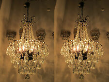 """A Pair of Antique Vintage Spider Style Crystal Chandelier lamp 1940s 16""""in dmtr"""