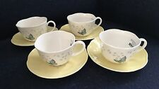 NWT Lenox Butterfly Meadow Colors YELLOW Set of 4 Cup and Saucer Sets PERFECT