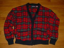 Vtg Pendleton Mens Red Navy Tartan Wool Plaid Cardigan Sweater Made USA XL