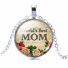 Vintage best MOM Cabochon Silver plated Glass Chain Pendant Necklace