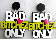 Heavy extra large Bad bitchez only link earrings. Hip hop pink glitter heart.