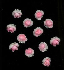 SOFT PINK White VINTAGE PLASTIC ROSES CABS Cabochon CHARMS JAPAN LOT