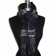 New 100% Cashmere Scarf Check Plaid Scotland Wool Wrap Soft Gunmetal #A04