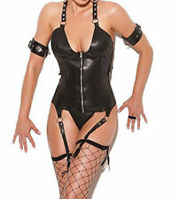 Sexy Black Faux Leather Look Corset Suspenders Arm Bands Lace Up Back