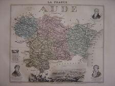 CARTE départementale AUDE Carcassonne Narbonne Limoux Nombreuses infos