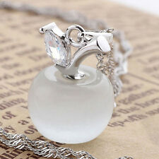 Opal White 925 Sterling Silver Apple Shape Cat Eye Stone CZ Pendant Gift