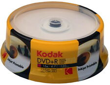 25 Kodak DVD+R full printable 4.7GB 120Min 16x Spindel