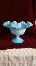 Vintage Fenton Glass Blue Marble Hobnail Ruffle Edge Stemmed Fruit Bowl