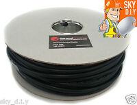 50m Black RG6 Satellite + Freesat Digital TV Aerial Coax Cable Coaxial Lead