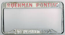 North Hollywood California Ruehman Pontiac Vintage Dealer License Plate Frame