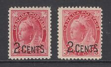 Canada Sc 87-88 MLH. 1899 2c surcharge on 3c Queen Victoria, F-VF