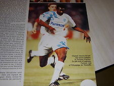 FOOTBALL COUPURE LIVRE PHOTO COULEUR 18x12 ANGLOMA OM MARSEILLE 1991-1992