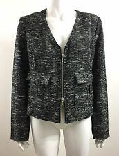 ISDA & Co Lightweight Zip Front Jacket Black & White Tweed Size M NEW WITH TAG