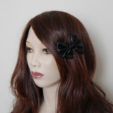 Shiny black wet look pvc fancy cute pin up rockabilly lolita emo mini hair bow