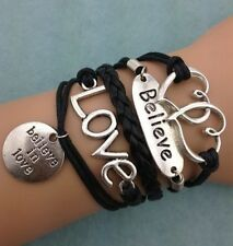 NEW Retro Infinity Believe Love Heart Leather Charm Bracelet plated Silver
