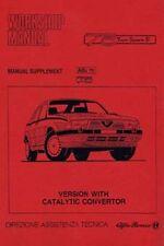 Alfa Romeo 75 Manual Del Taller Suplemento para los modelos con un coche catalizador