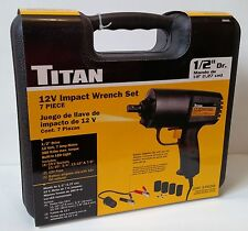 "Titan 55601 ~ 7 Piece 12V Electric Impact Wrench Set, 1/2"" Drive ~ Free S/H"