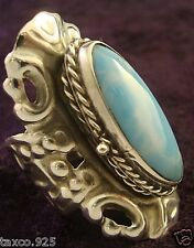 VINTAGE DESIGN TAXCO MEXICAN STERLING SILVER LARIMAR POISON RING MEXICO
