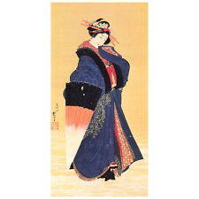 Beauty w/ Umbrella in the Snow by Hokusai Deco FRIDGE MAGNET, Japanese Art Repro