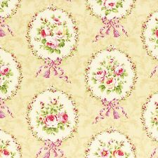 BEIGE ROCOCO SWEET ROSES FLORAL #3562 COTTON SEW BTY LECIEN JAPAN FABRIC