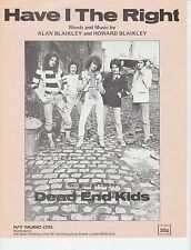 Have I The Right - Dead End Kids - 1964 Sheet Music