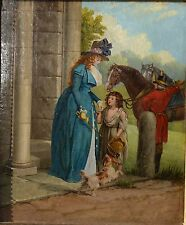 Original Antique oil painting Lady with urchin and dog and horses c 1840,
