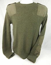 Men's Army  Green Wooly Pully Sweater Size S/M Well Worn Distressed