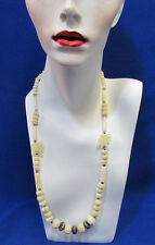 Vintage Elephant Necklace Hand Carved Beaded 30 Inches Cream Color