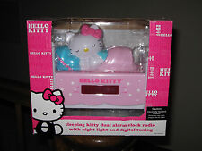 HELLO KITTY Sleeping Kitty Dual Alarm Clock AM/FM Radio Night Light NIB LED !
