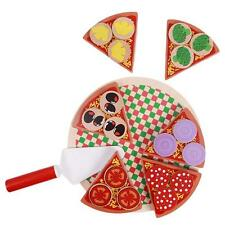 Kids Wooden Pizza Play Set Italian Food Dinner Kitchen Toy Children Playing - LH
