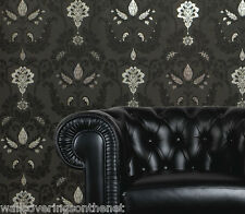 Shabby Chic, Black, Silver & Grey, Damask Style Wallpaper by Holden Decor