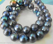 HUGE NATURAL SOUTH SEA 9-10MM GENUINE BLACK BLUE BAROQUE PEARL NECKLACE