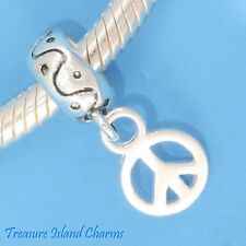 PEACE SIGN SYMBOL  .925 Sterling Silver EUROPEAN EURO Dangle Bead Charm