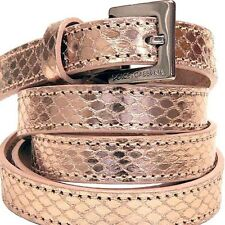 Dolce & Gabbana Pink Gold Snake Skin Leather  Silver tone Buckle Skinny Belt