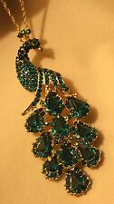 Lovely Sculpt Teal Blue Crystal Rhinestone Sitting Peacock Necklace Brooch Pin