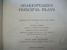 Shakespeare's Principal Plays (Brooke, Cunliffe, MacCracken, 1927 Hardcover)