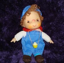 """Adorable little 50's Boy Doll with a Cupcake Hanging around his Neck Sz 9""""x 4"""""""