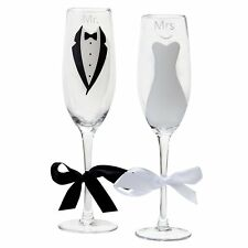 Wedding Toasting Champagne Flutes Bride Groom Mr and Mrs Glass Decoration Gift