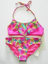 Roxy Girls Paradise Beach Bandana Bikini Set Knockout Pink Sz 7 - NWT